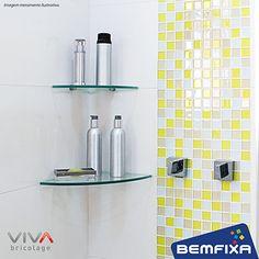 Prateleira de vidro para Canto VIVA Bricolage. Perfeita para ser utilizada em banheiro, lavanderia, sala de estar e muito mais!
