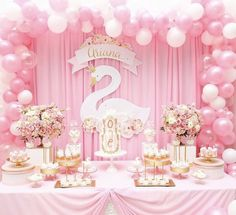 We're swooning over this Swan theme party for precious little Ariana 💗💗💗 Design & Set-up Photography Florals Cake Sweets Graphics & Printing cupcakes Ballerina Birthday Parties, Girl Birthday Themes, Ballerina Party, 1st Birthday Parties, Birthday Party Decorations, Baby Shower Decorations, 1st Birthday Girls, Birthday Ideas, Barbie Theme