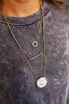 Marble Stone Layered Necklace - Dottie Couture Boutique Layered Necklace, Gold Necklace, Dottie Couture Boutique, Marble Stones, Autumn Fashion, My Style, Stuff To Buy, Clothes, Jewelry