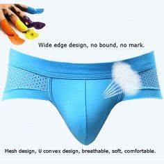 Modal U Convex Pouch Mesh Briefs Mens Casual Breathable Soft Underwear at Banggood