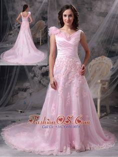 Pretty Baby Pink Princess V-neck Evening Dress Chiffon Appliques and Ruch Floor-length  http://www.fashionos.com  Dramatic and magnificent! This gorgeous baby pink dress will let you experience the feeling of being a unique princess and leave you a longlasting wonderful memory definitely! The V-neck style bodice is elegantly ruched and the chic roses in the shoulder is so fabulous to show your beauty.