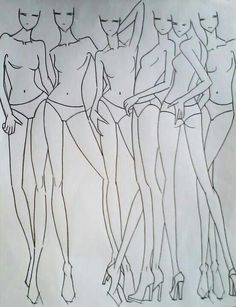 Posizioni varie per disegno moda.