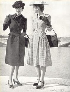 Two absolutely lovely 1940s daywear looks. #vintage #fashion #hats