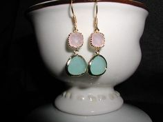 Pale Pink and Seafoam Crystal Dangle Earrings by luvswoodencars2, $20.00