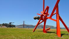 Two of the Mark di Suvero sculptures in Crissy Field near the San Francisco waterfront. They are part of SFMOMA's On the Go Exhibits.