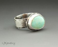 Silver Ring Turquoise Ring Turquoise Jewelry Sleepy by LjBjewelry, $198.00