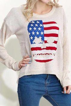 American Skull Print Sweater- Only Medium Left