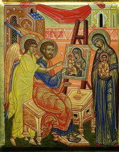 Luke is believed to have painted the first icon. His subject was Mary, the Mother of God. Roman Church, Roman Catholic, Church Icon, Catholic Pictures, Russian Icons, Byzantine Icons, Religious Icons, Orthodox Icons, Virgin Mary