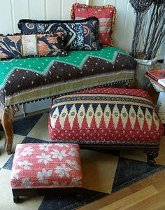ottomans and pillows bohemian style