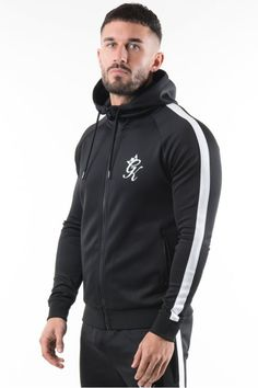 Gym King Poly Tracksuit Top - Black/White