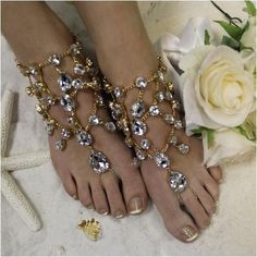 gold barefoot sandals - crystals - gold - diamante - diamonds - wedding barefoot sandals - rhinestones- beach- crystals