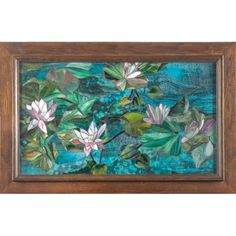 Mosaic window, beautiful and brightly colored water lily design, includes an Arts & Crafts easel, glass