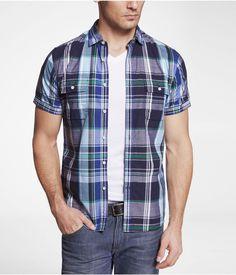 Fitted Madras Plaid Short Sleeve Shirt - Express Men
