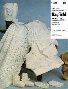 Vintage Baby Layette Dress Cardigan Bonnet by LittleJohn2003