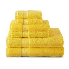 Two Bath Towels; Two Hand Towels; Two Washcloths; Yellow Baths, Yellow Bathrooms, Bathroom Towels, Bath Towels, Bathroom Bath, Bathroom Inspo, Bathroom Ideas, Yellow Towels, Cleaners Homemade