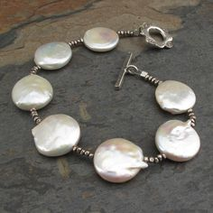 Coin Pearl Thai Silver Bracelet Del Mar by YarrowJewelry on Etsy