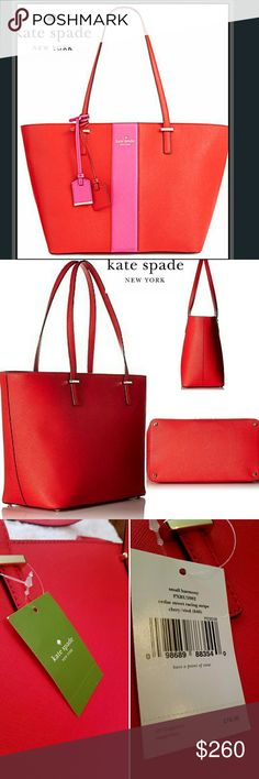 Kate Spade New York Cedar Street RacingStripe Tote Authentic Kate Spade Tote w/ Kate Spade dust bag.  NWT  Kate spade new york cedar street racing stripe small harmony tote bag product details color: cherry liqueur 100% leather imported 100% polyester lining zipper closure 9 shoulder drop 10 high 11.5 wide zip-top tote in crosshatch texture featuring contrast racing stripe at center with metallic hardware/logo pockets: 2 interior slip, 1 interior zip Kate Spade Bags Totes