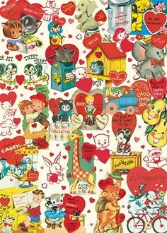 Valentines - February 14 - Cavallini Retro Valentine Wrapping Paper, 20 X 28 Vintage Valentine Cards, Vintage Greeting Cards, Vintage Postcards, Vintage Images, Happy Valentines Day, Funny Valentine, Vintage Wrapping Paper, Vintage Paper, Retro Kids