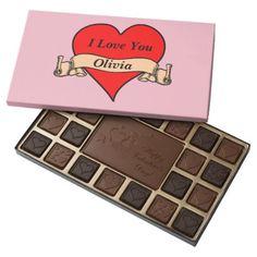 Editable Red Heart with Banner Valentines Day 45 Piece Box Of Chocolates - Saint Valentine's Day gift idea couple love girlfriend boyfriend design