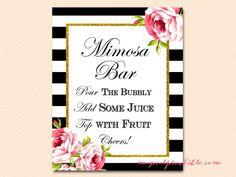 mimosa-bar-sign black stripes floral bridal shower sign wedding sign