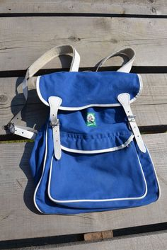 Unique Vintage Blue Canvas Backpack, with White Leather Straps, School Backpack, Hike Backpack