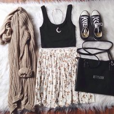 """Love this #OOTD feat our """"Shelby Crop Top (Black)"""" & """"Dayana knit cardigan (Mocha)"""" ☺️  Treat yourselves & enjoy 10% off using code """"love"""" <3 @ootdfash  www.ootdfash.com  Shop link in our bio #ootdfash"""