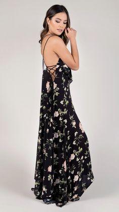 Floral Print Ruffle & Lace Detail Maxi Dress