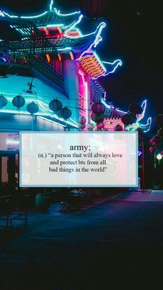 """Army; (substantivo) """"uma pessoa que sempre amará e protegerá o bts de todas as coisas más do mundo"""""""