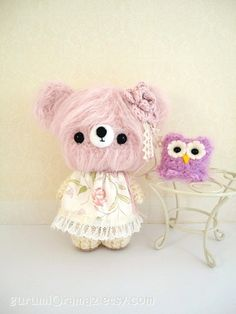kawaii amigurumi Bear creamy pink fuzzy and blush by gurumiorama2, $26.50