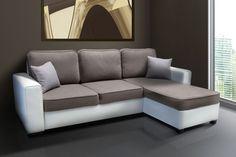 Canapé d'angle convertible microfibre grise et Simili Cuir blanc EXPRESS Côtécosy
