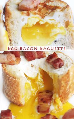 Baguette slices filled with a soft-cooked egg and bits of bacon!