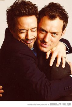 I have no earthly reason to pin this....besides the fact that Robert Downey Jr. is hugging Jude Law. And lookin' adorable.