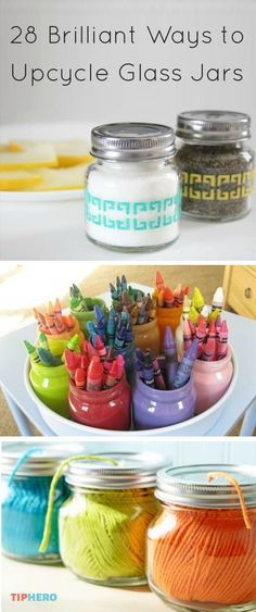Before you throw away that glass jar, take a look at this collection of ideas on ways to repurpose glass jars. From spice jars to vases to lanterns to soap dispensers. Got an idea of your own? Share i (Decorated Bottle Soap Dispenser) Crafts With Glass Jars, Mason Jar Crafts, Bottle Crafts, Pot Mason Diy, Mason Jars, Candle Jars, Arts And Crafts For Teens, Easy Arts And Crafts, Craft Organization