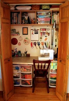 """""""By Your Hands: Organizing - Craft Closets"""" Even if a project is left out on the table, you can just close the doors and the room still looks tidy. Pretty good idea. #Crafts #Sewing #Organizing"""