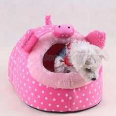 Pink Pig Pattern Soft Pet Warm Bed House Cozy Nest Mat Pad Cushion Dog Cat S | eBay
