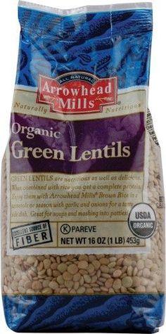 Arrowhead Mills Organic Green Lentils, 16-Ounce Bags