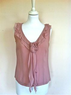 Luisa Spagnoli Mauve Silk Top With Double Collar via The Queen Bee. Click on the image to see more!