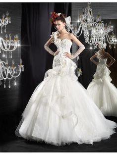 Robes de mariée 2015 femme en tulle avec bretelles glamour élégant                                                                                                                                                                                 Plus