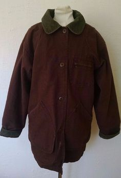 Vtg LL Bean Barn Coat Chore Jacket Womens M Brown Corduroy Wool Detachable Liner #LLBean #BasicJacket #Casual