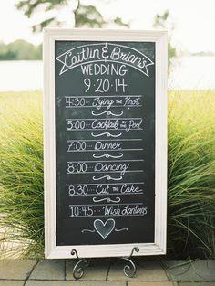 An elegant chalkboard itinerary for wedding guests! {@kristaannjones}