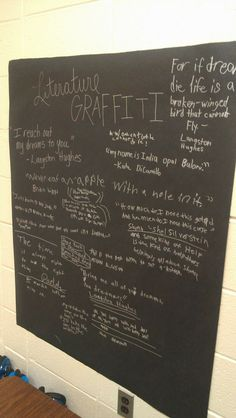 Literature Graffiti - Post black paper on your classroom wall and have students write with silver Sharpie quotes that they love as you/they read throughout the year. Especially for my future job as a media specialist! Ela Classroom, Classroom Walls, Classroom Organization, Classroom Ideas, Classroom Wall Quotes, Future Classroom, Middle School Reading, Middle School English, Ap 12