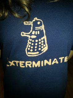 Doctor Who Dalek bleach pen shirt...buy shirts as party gifts with doctor who stuff on it.