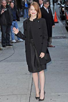 Emma Stone in total black