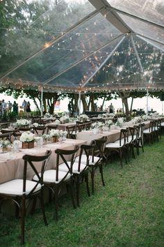 Clear Wedding Tent Rental | Tented Outdoor Sarasota Siesta Key Wedding Reception | Sarasota Wedding Planner Kimberly Hensley Events