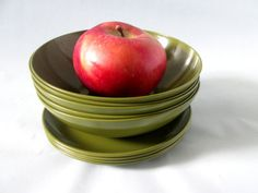 Vintage Green Melamine Dishes  Avocado Green by LibertyKnits