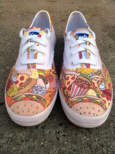 Custom Vans or Keds Shoes Fast Food Hand-Drawn by BigLeagueShoe