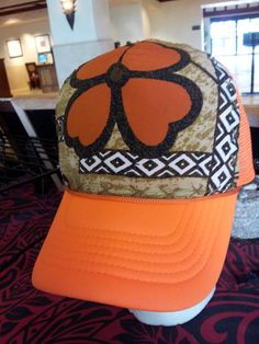 Neon Orange Trucker Hat w/Hand Sewn Vintage by AumoanaDesigns, $25.00