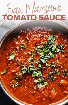 Homemade Spaghetti Sauce, Homemade Sauce, Homemade Marinara Sauce, Italian Dinner Recipes, Italian Dishes, Italian Sauces, San Marzano Tomato Sauce, San Marzano Sauce, Sauces