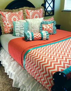 Coral Chevron Custom Bedding by LikeMyMotherDoes on Etsy Guest bedroom Coral Bedding, Chevron Bedding, Bedding Sets, Coral Bedroom, Bedroom Colors, Dream Bedroom, Home Bedroom, Bedroom Decor, Scraps Quilt