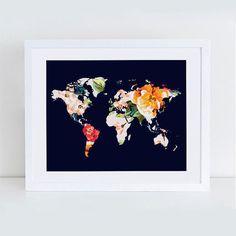 Anthropologie インテリア雑貨 超カワイイ!お花で描いた世界地図 ポスター (A4)